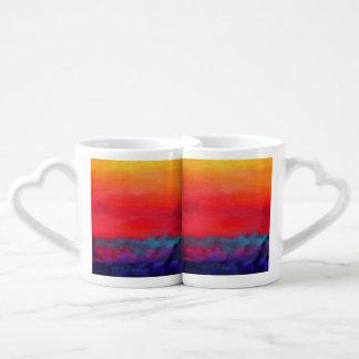 Pintura abstracta colorida del arte moderno set de tazas de café