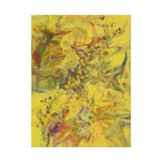 Pintura abstracta contemporánea amarilla de Digita Lona Estirada Galerías