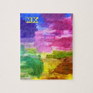 Pintura abstracta de acrílico del arte pintado a puzzle con fotos