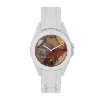 Pintura abstracta de la hoja floral del normando reloj de mano