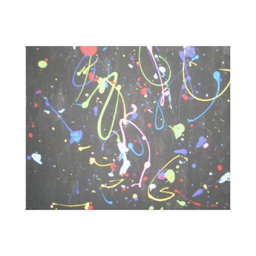 Pintura abstracta de la salpicadura impresiones en lona