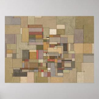 Pintura abstracta de los estratos de la piedra póster