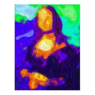 Pintura abstracta de Mona Lisa Tarjeta Postal