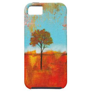 Pintura abstracta del arte del árbol del paisaje d iPhone 5 carcasas