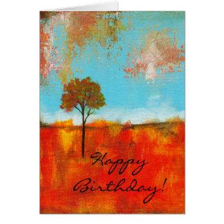 Pintura abstracta del arte del árbol del paisaje d tarjetón
