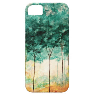Pintura abstracta del bosque de los árboles del ar iPhone 5 Case-Mate funda