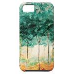 Pintura abstracta del bosque de los árboles del iPhone 5 Case-Mate carcasa