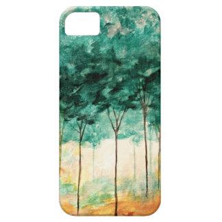 Pintura abstracta del bosque de los árboles del iPhone 5 fundas