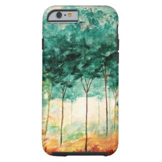 Pintura abstracta del bosque de los árboles del funda de iPhone 6 tough