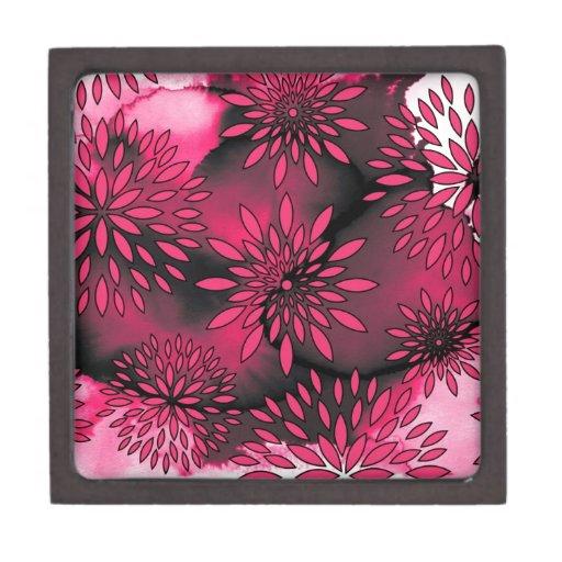 Pintura abstracta del estampado de flores y de la  caja de regalo de calidad