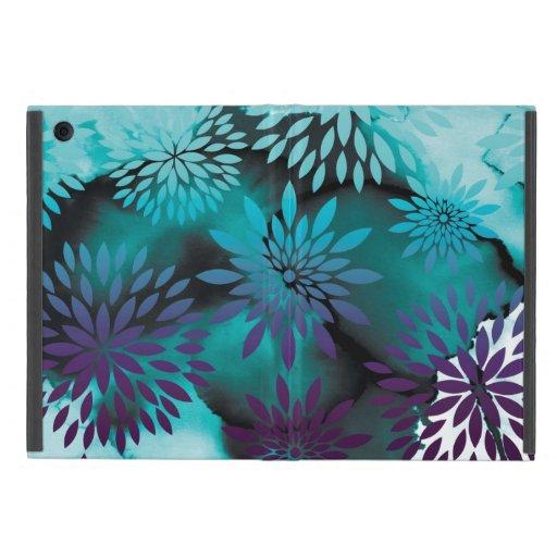 Pintura abstracta del estampado de flores y de la  iPad mini protector