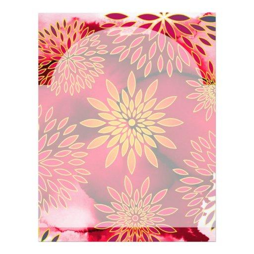 Pintura abstracta del estampado de flores y de la  membrete a diseño