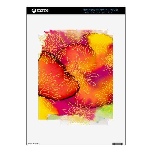 Pintura abstracta del estampado de flores y de la  iPad 3 pegatinas skins