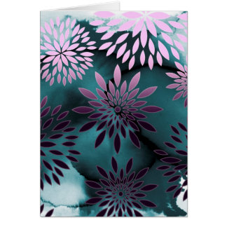 Pintura abstracta del estampado de flores y de la  tarjeta de felicitación