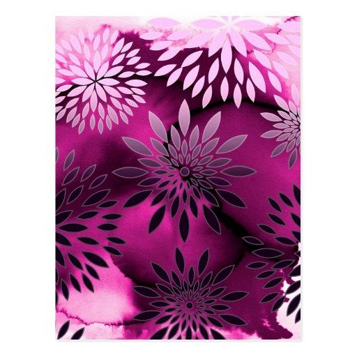 Pintura abstracta del estampado de flores y de la  tarjeta postal