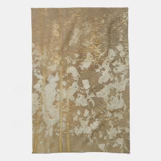 Pintura abstracta del oro con los puntos de plata toalla de mano