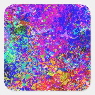 Pintura abstracta en lona pegatina cuadrada