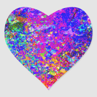 Pintura abstracta en lona pegatina en forma de corazón