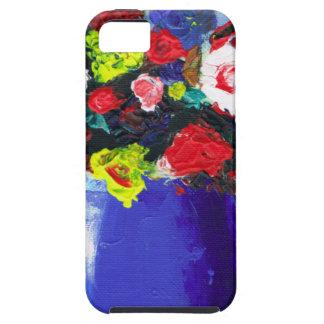 Pintura abstracta floral de las flores rojas iPhone 5 Case-Mate fundas