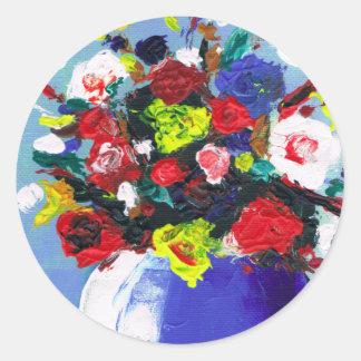 Pintura abstracta floral de las flores rojas pegatinas redondas