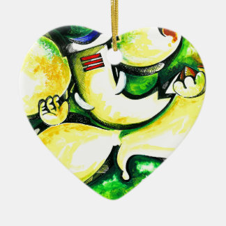 Pintura abstracta hecha a mano de señor Ganesha Adorno Navideño De Cerámica En Forma De Corazón