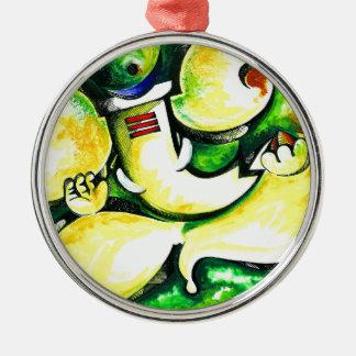 Pintura abstracta hecha a mano de señor Ganesha Adorno Navideño Redondo De Metal