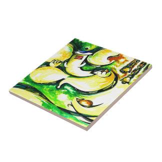 Pintura abstracta hecha a mano de señor Ganesha Azulejo Cuadrado Pequeño