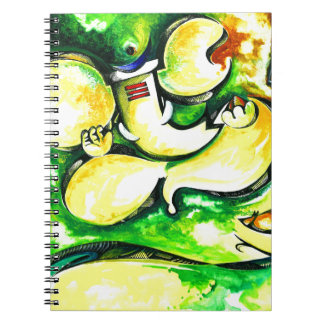 Pintura abstracta hecha a mano de señor Ganesha Libro De Apuntes Con Espiral