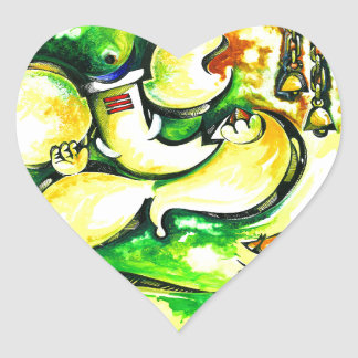 Pintura abstracta hecha a mano de señor Ganesha Pegatina En Forma De Corazón