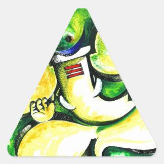 Pintura abstracta hecha a mano de señor Ganesha Pegatina Triangular