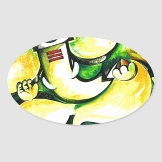 Pintura abstracta hecha a mano de señor Ganesha Pegatina Ovalada