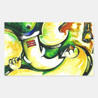 Pintura abstracta hecha a mano de señor Ganesha Pegatina Rectangular