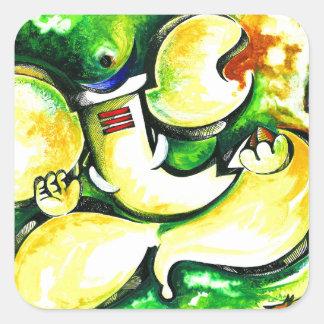 Pintura abstracta hecha a mano de señor Ganesha Pegatina Cuadrada