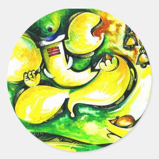 Pintura abstracta hecha a mano de señor Ganesha Pegatina Redonda