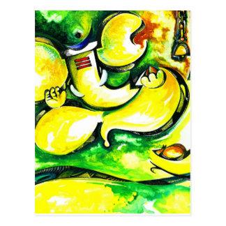 Pintura abstracta hecha a mano de señor Ganesha Postales