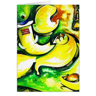 Pintura abstracta hecha a mano de señor Ganesha Tarjeta De Felicitación