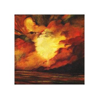 Pintura abstracta melodiosa de la puesta del sol impresiones en lienzo estiradas