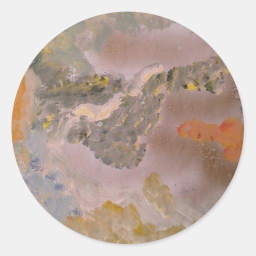 Pintura abstracta pegatina redonda