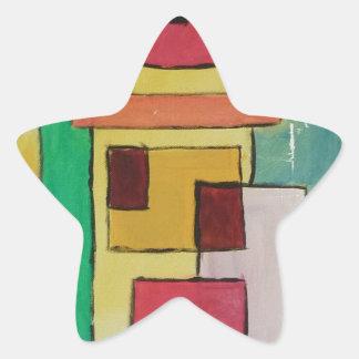 Pintura abstracta por s.b. Eazle Pegatina En Forma De Estrella