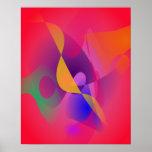 Pintura abstracta roja simple impresiones
