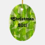 Pintura abstracta verde de las acuarelas de la sel adorno de navidad