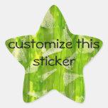 Pintura abstracta verde de las acuarelas de la sel colcomanias forma de estrella