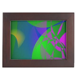 Pintura abstracta verde oscuro caja de recuerdos