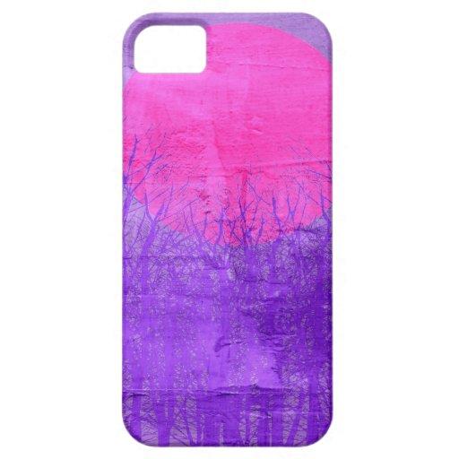 Pintura abstracta violeta de la puesta del sol el  iPhone 5 coberturas