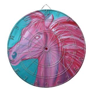 Pintura acrílica rosada del caballo tablero dardos