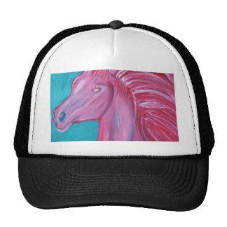 Pintura acrílica rosada del caballo gorros