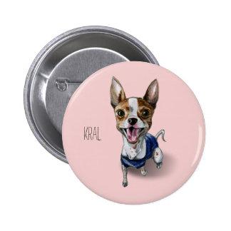 Pintura adaptable de la acuarela del perro de pin redondo de 2 pulgadas