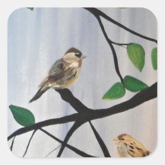 Pintura adorable del pájaro pegatina cuadrada