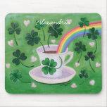 Pintura afortunada irlandesa personalizada de la t alfombrillas de ratones