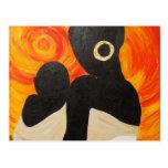 Pintura africana - final del día, arte de postal
